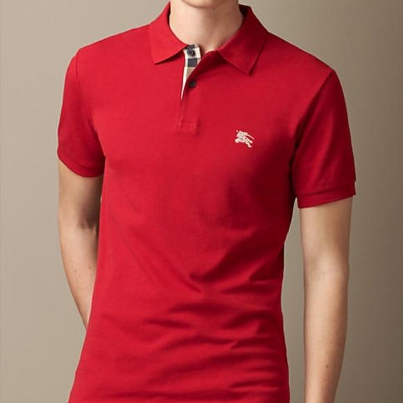 66b32e31 Burberry Shirts | Brit Red Mens Check Placket Polo Shirt | Poshmark